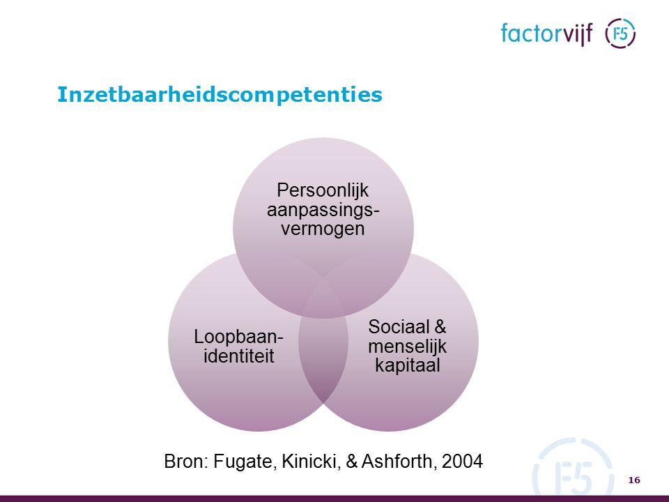 Inzetbaarheidscompetenties 16 Persoonlijk aanpassings- vermogen Sociaal & menselijk kapitaal Loopbaan- identiteit Bron: Fugate, Kinicki, & Ashforth, 2004