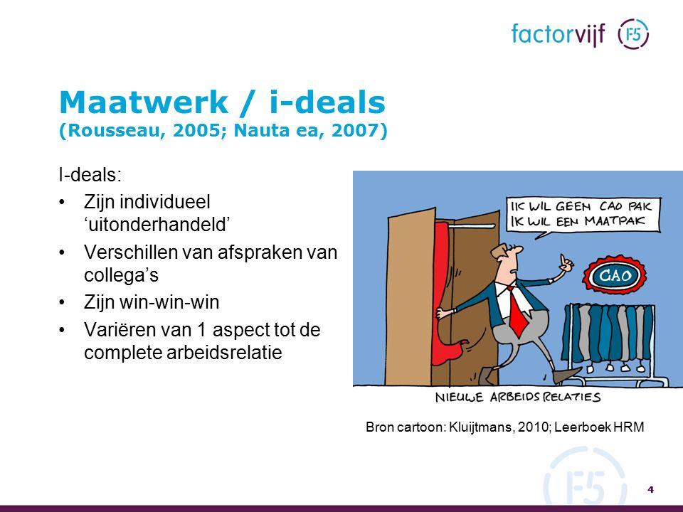 Maatwerk / i-deals (Rousseau, 2005; Nauta ea, 2007) I-deals: Zijn individueel 'uitonderhandeld' Verschillen van afspraken van collega's Zijn win-win-win Variëren van 1 aspect tot de complete arbeidsrelatie 4 4 Bron cartoon: Kluijtmans, 2010; Leerboek HRM