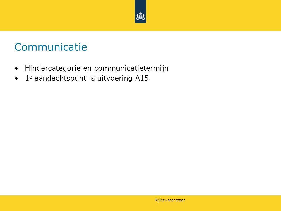 Rijkswaterstaat Communicatie Hindercategorie en communicatietermijn 1 e aandachtspunt is uitvoering A15