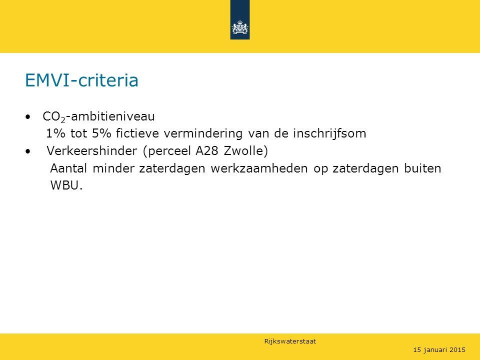 Rijkswaterstaat EMVI-criteria CO 2 -ambitieniveau 1% tot 5% fictieve vermindering van de inschrijfsom Verkeershinder (perceel A28 Zwolle) Aantal minder zaterdagen werkzaamheden op zaterdagen buiten WBU.