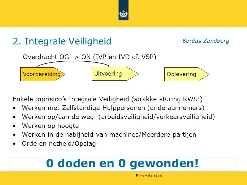 Rijkswaterstaat 2. Integrale Veiligheid 0 doden en 0 gewonden.