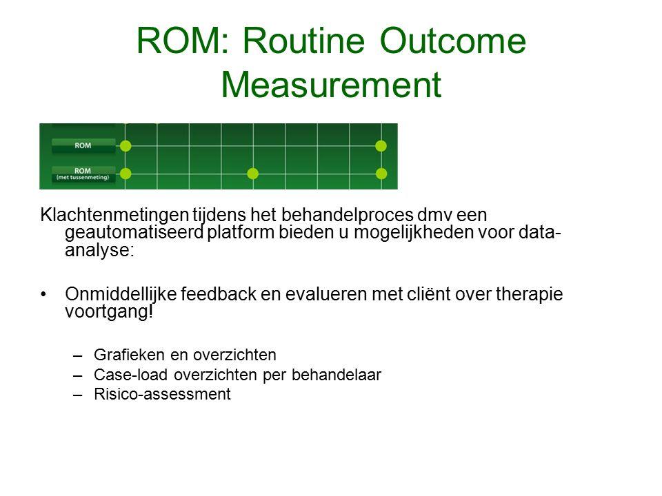ROM: Routine Outcome Measurement Klachtenmetingen tijdens het behandelproces dmv een geautomatiseerd platform bieden u mogelijkheden voor data- analyse: Onmiddellijke feedback en evalueren met cliënt over therapie voortgang.