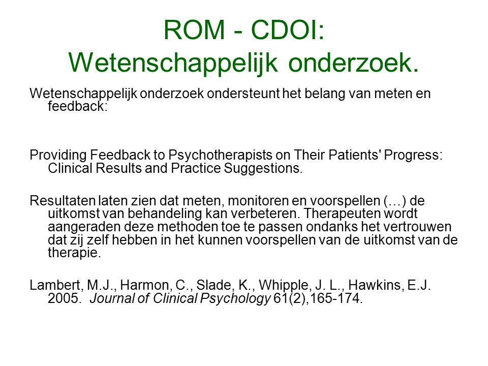 ROM - CDOI: Wetenschappelijk onderzoek.
