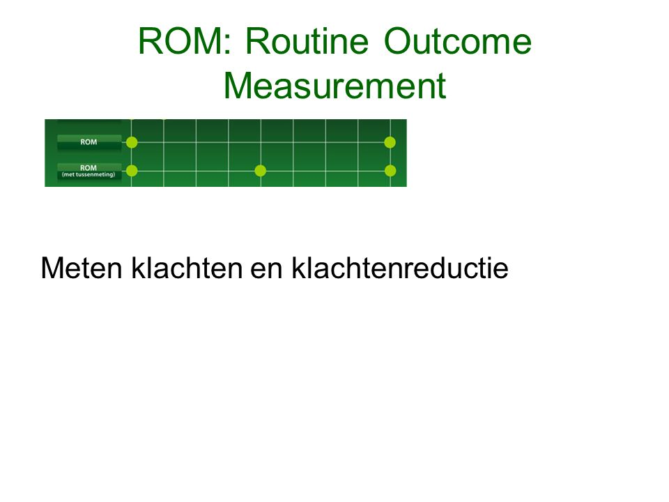 ROM: Routine Outcome Measurement Meten klachten en klachtenreductie