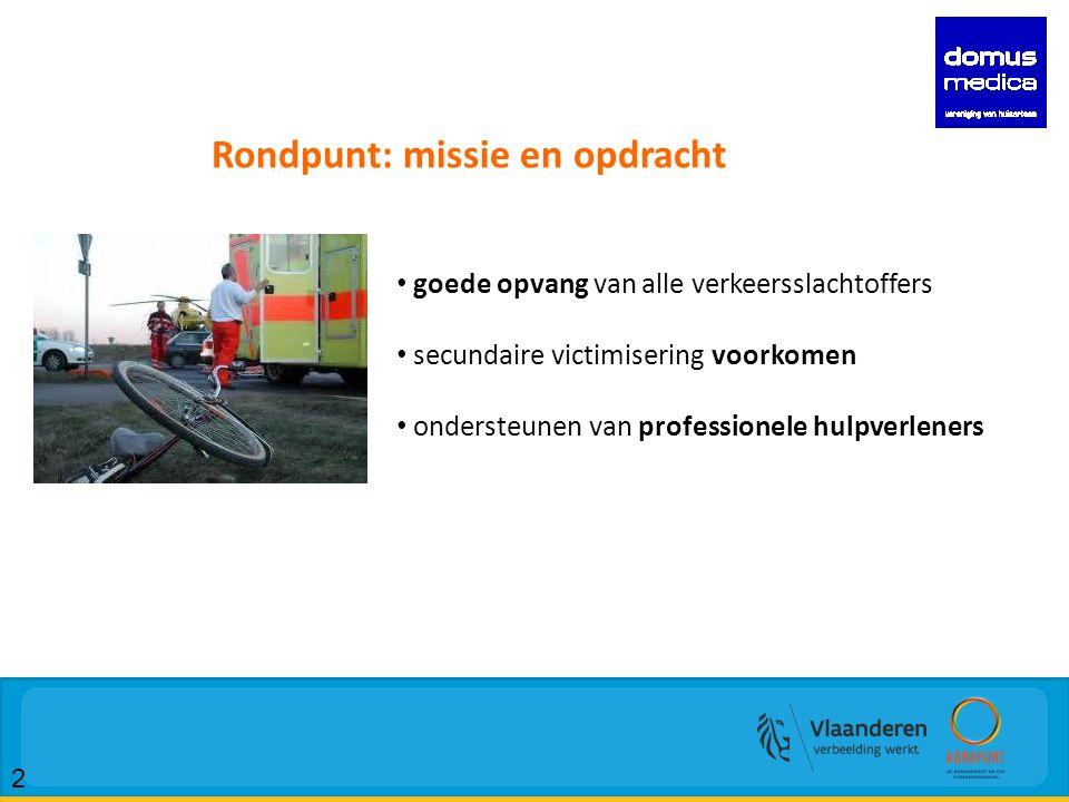 2 Rondpunt: missie en opdracht goede opvang van alle verkeersslachtoffers secundaire victimisering voorkomen ondersteunen van professionele hulpverleners