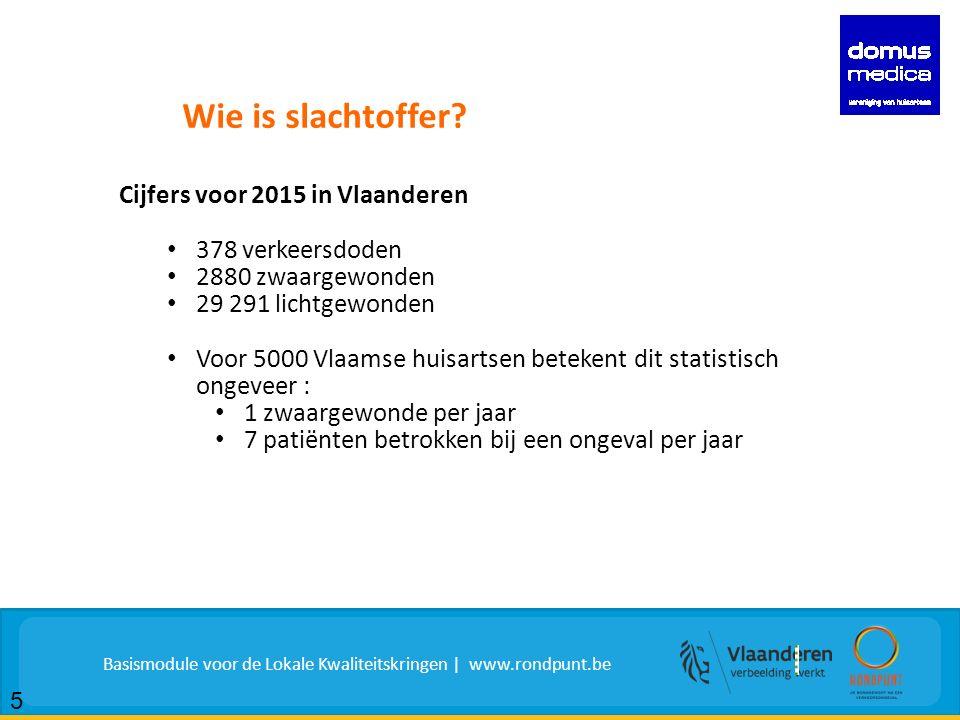 Cijfers voor 2015 in Vlaanderen 378 verkeersdoden 2880 zwaargewonden 29 291 lichtgewonden Voor 5000 Vlaamse huisartsen betekent dit statistisch ongeveer : 1 zwaargewonde per jaar 7 patiënten betrokken bij een ongeval per jaar Wie is slachtoffer.
