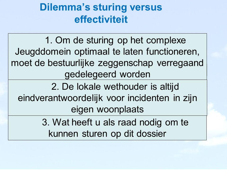 Dilemma's sturing versus effectiviteit Eens Onee ns 1.