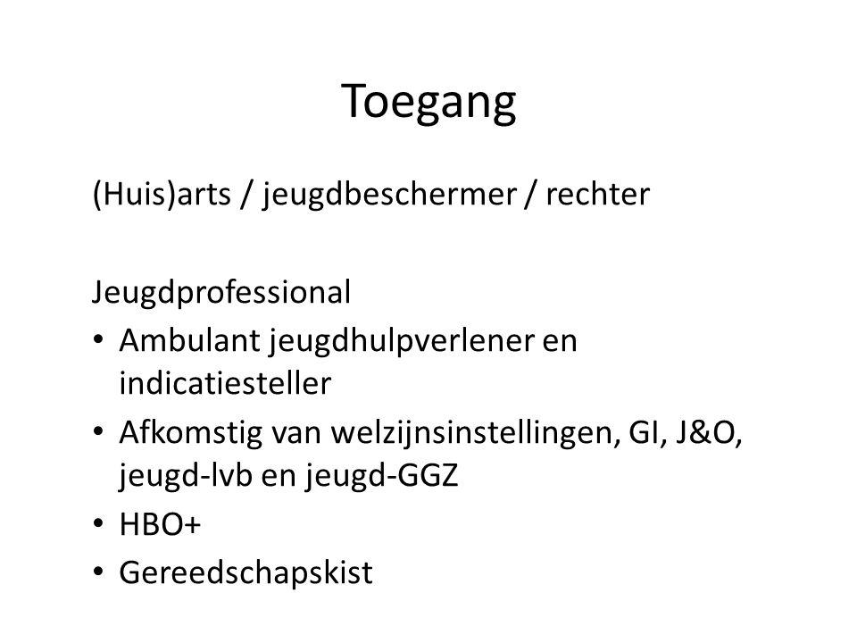 Toegang (Huis)arts / jeugdbeschermer / rechter Jeugdprofessional Ambulant jeugdhulpverlener en indicatiesteller Afkomstig van welzijnsinstellingen, GI, J&O, jeugd-lvb en jeugd-GGZ HBO+ Gereedschapskist