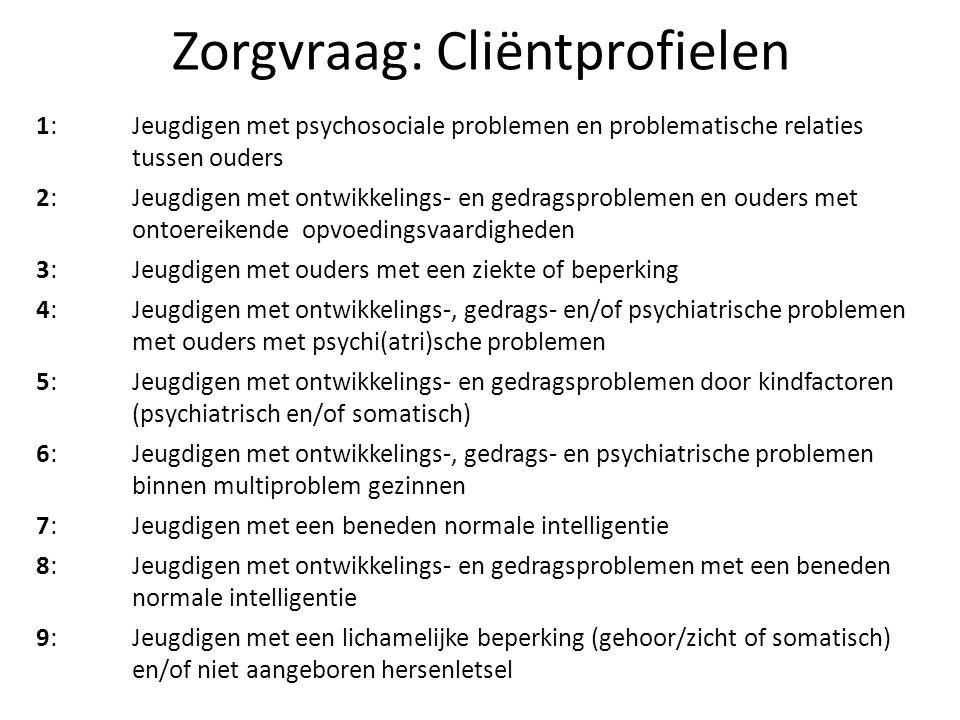 Zorgvraag: Cliëntprofielen 1: Jeugdigen met psychosociale problemen en problematische relaties tussen ouders 2: Jeugdigen met ontwikkelings- en gedragsproblemen en ouders met ontoereikende opvoedingsvaardigheden 3: Jeugdigen met ouders met een ziekte of beperking 4: Jeugdigen met ontwikkelings-, gedrags- en/of psychiatrische problemen met ouders met psychi(atri)sche problemen 5: Jeugdigen met ontwikkelings- en gedragsproblemen door kindfactoren (psychiatrisch en/of somatisch) 6: Jeugdigen met ontwikkelings-, gedrags- en psychiatrische problemen binnen multiproblem gezinnen 7: Jeugdigen met een beneden normale intelligentie 8: Jeugdigen met ontwikkelings- en gedragsproblemen met een beneden normale intelligentie 9: Jeugdigen met een lichamelijke beperking (gehoor/zicht of somatisch) en/of niet aangeboren hersenletsel