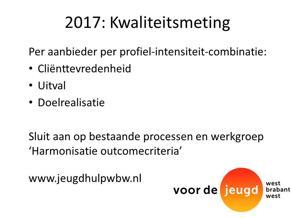 2017: Kwaliteitsmeting Per aanbieder per profiel-intensiteit-combinatie: Cliënttevredenheid Uitval Doelrealisatie Sluit aan op bestaande processen en werkgroep 'Harmonisatie outcomecriteria' www.jeugdhulpwbw.nl