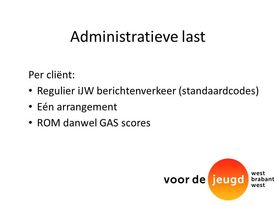 Administratieve last Per cliënt: Regulier iJW berichtenverkeer (standaardcodes) Eén arrangement ROM danwel GAS scores