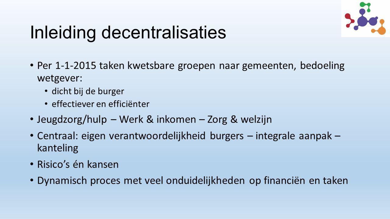 Inleiding decentralisaties Per 1-1-2015 taken kwetsbare groepen naar gemeenten, bedoeling wetgever: dicht bij de burger effectiever en efficiënter Jeu
