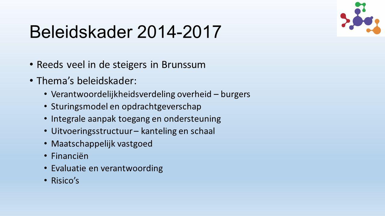 Beleidskader 2014-2017 Reeds veel in de steigers in Brunssum Thema's beleidskader: Verantwoordelijkheidsverdeling overheid – burgers Sturingsmodel en