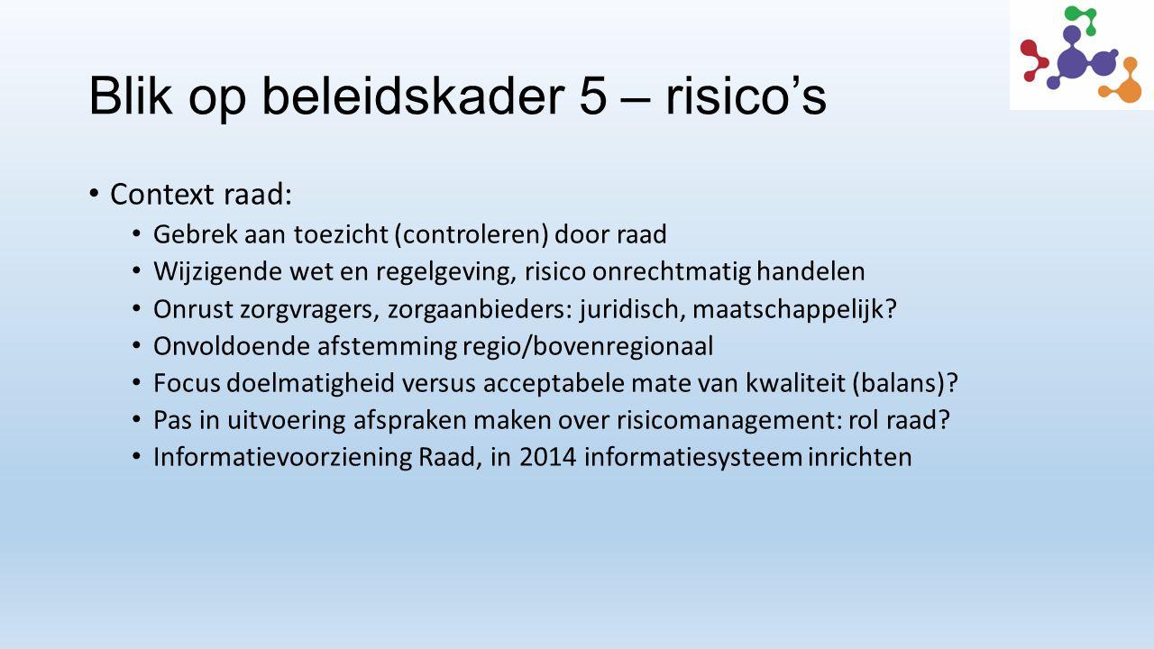 Blik op beleidskader 5 – risico's Context raad: Gebrek aan toezicht (controleren) door raad Wijzigende wet en regelgeving, risico onrechtmatig handelen Onrust zorgvragers, zorgaanbieders: juridisch, maatschappelijk.