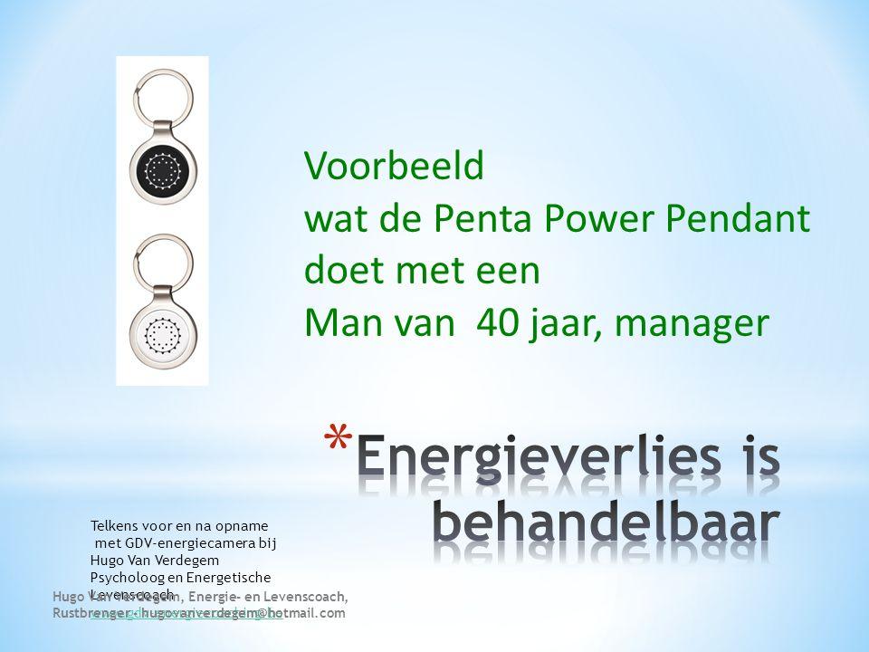 Voorbeeld wat de Penta Power Pendant doet met een Man van 40 jaar, manager Telkens voor en na opname met GDV-energiecamera bij Hugo Van Verdegem Psych