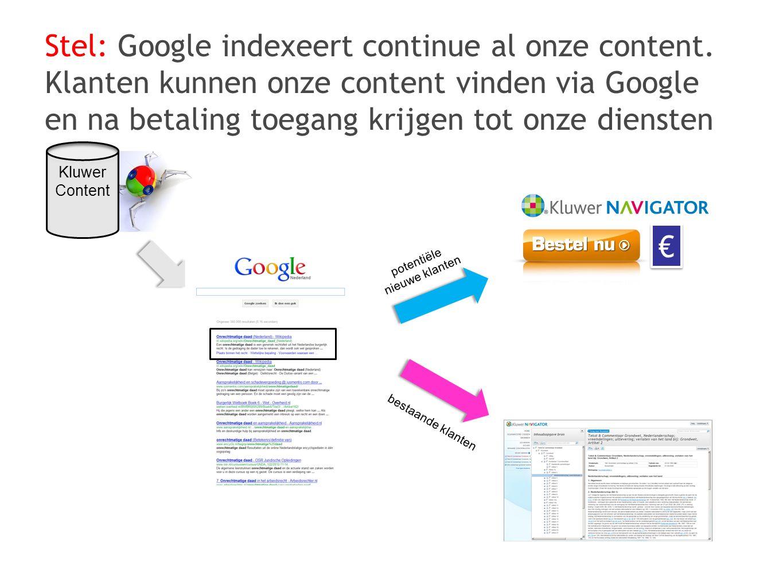 Stel: Google indexeert continue al onze content. Klanten kunnen onze content vinden via Google en na betaling toegang krijgen tot onze diensten potent