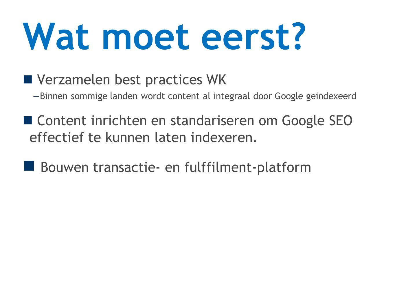 Verzamelen best practices WK —Binnen sommige landen wordt content al integraal door Google geindexeerd Content inrichten en standariseren om Google SE