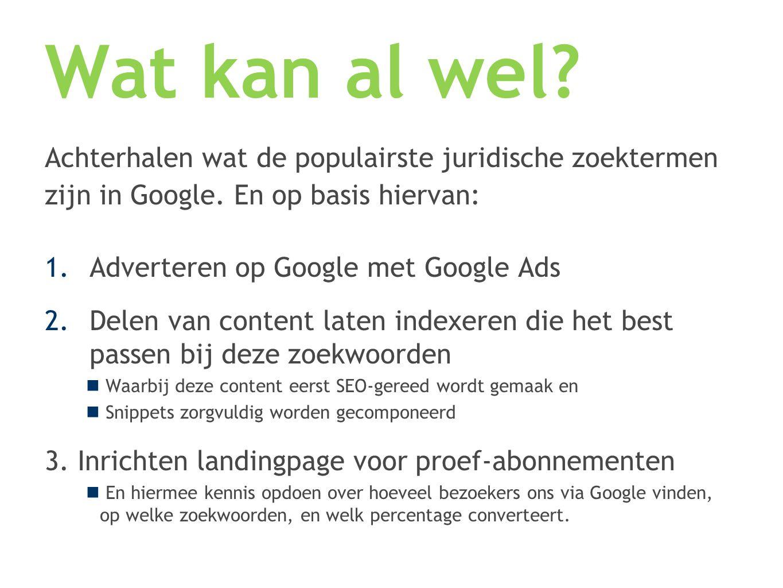Achterhalen wat de populairste juridische zoektermen zijn in Google. En op basis hiervan: 1.Adverteren op Google met Google Ads 2.Delen van content la
