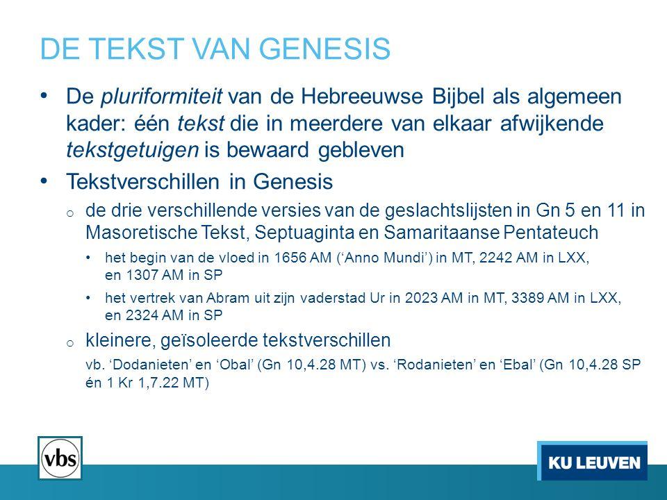 DE TEKST VAN GENESIS De pluriformiteit van de Hebreeuwse Bijbel als algemeen kader: één tekst die in meerdere van elkaar afwijkende tekstgetuigen is bewaard gebleven Tekstverschillen in Genesis o de drie verschillende versies van de geslachtslijsten in Gn 5 en 11 in Masoretische Tekst, Septuaginta en Samaritaanse Pentateuch het begin van de vloed in 1656 AM ('Anno Mundi') in MT, 2242 AM in LXX, en 1307 AM in SP het vertrek van Abram uit zijn vaderstad Ur in 2023 AM in MT, 3389 AM in LXX, en 2324 AM in SP o kleinere, geïsoleerde tekstverschillen vb.