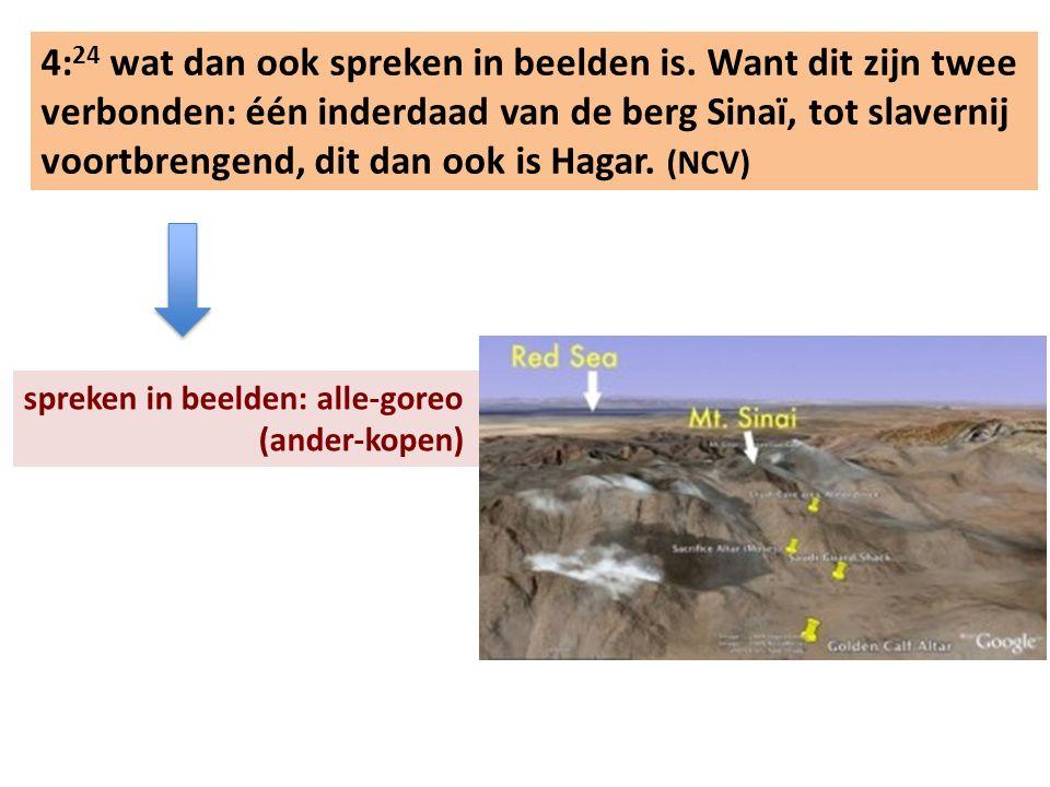 4: 24 wat dan ook spreken in beelden is. Want dit zijn twee verbonden: één inderdaad van de berg Sinaï, tot slavernij voortbrengend, dit dan ook is Ha