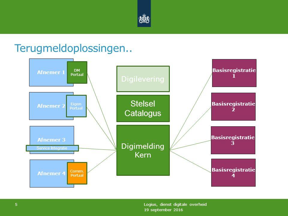 Proof of concepts… 19 september 2016 Logius, dienst digitale overheid 6 UWV Rotterdam CAK HR Digimelding Kern Digilevering Stelsel Catalogus GBA (UWV en Rotterdam) BAG BRI ( CAK en HR) BRO (Brandweer Limburg Noord) DM Portaal Eigen Portaal Comm.