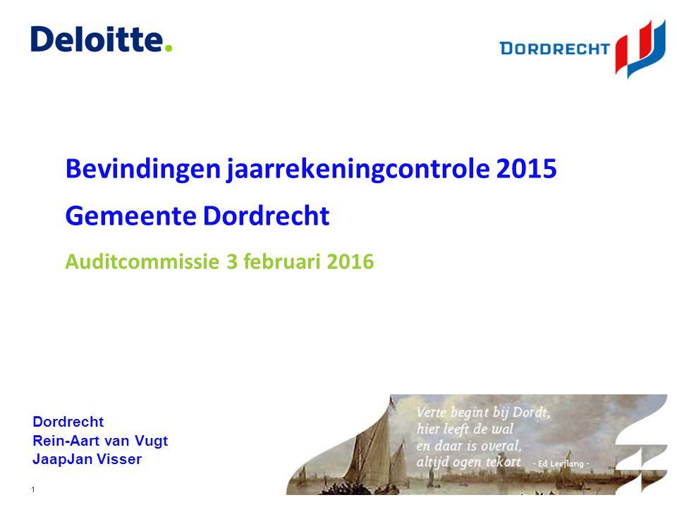 ©Deloitte © 2009 Deloitte Touche Tohmatsu Bevindingen jaarrekeningcontrole 2015 Gemeente Dordrecht Dordrecht Rein-Aart van Vugt JaapJan Visser 1 Auditcommissie 3 februari 2016