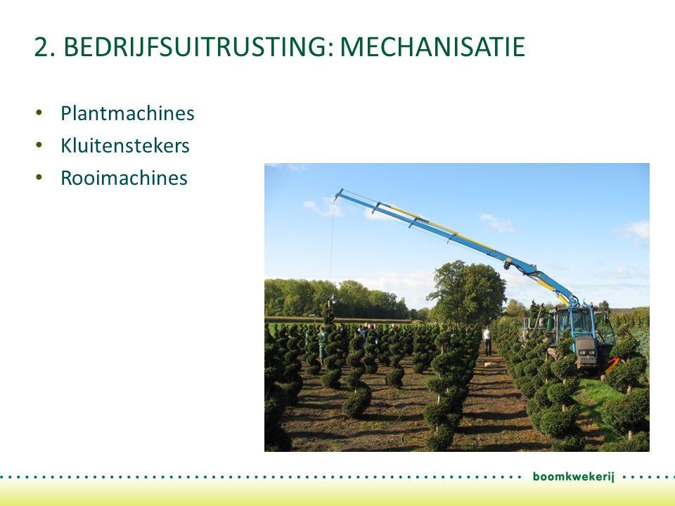 2. BEDRIJFSUITRUSTING: MECHANISATIE Plantmachines Kluitenstekers Rooimachines