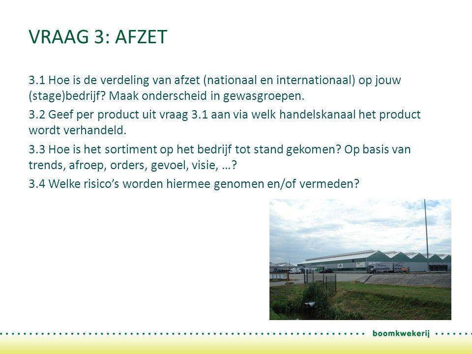 VRAAG 3: AFZET 3.1 Hoe is de verdeling van afzet (nationaal en internationaal) op jouw (stage)bedrijf.
