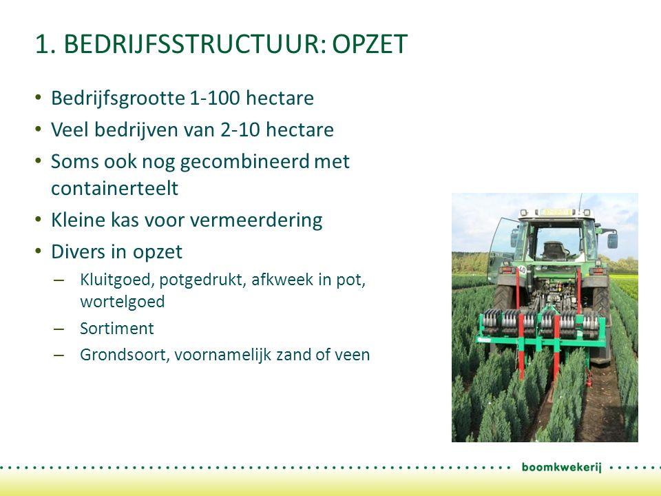1. BEDRIJFSSTRUCTUUR: OPZET Bedrijfsgrootte 1-100 hectare Veel bedrijven van 2-10 hectare Soms ook nog gecombineerd met containerteelt Kleine kas voor