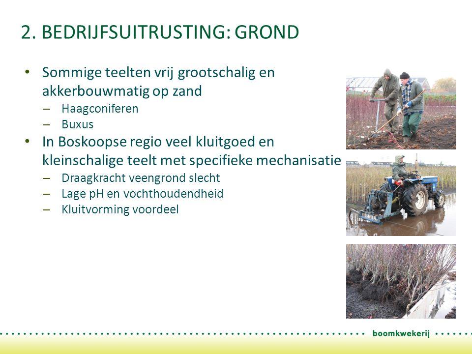 2. BEDRIJFSUITRUSTING: GROND Sommige teelten vrij grootschalig en akkerbouwmatig op zand – Haagconiferen – Buxus In Boskoopse regio veel kluitgoed en