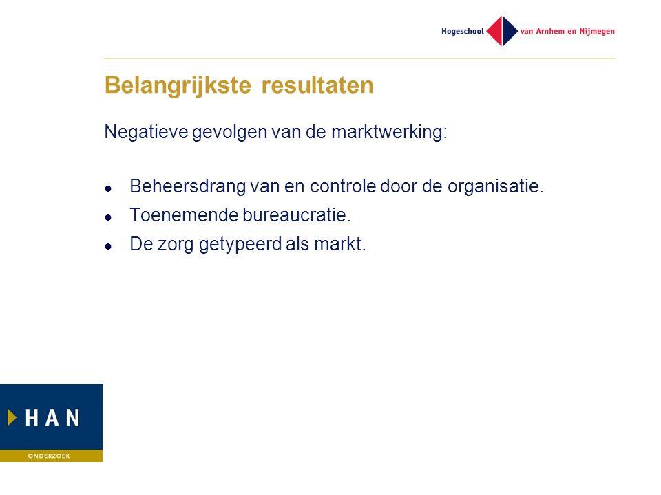 Belangrijkste resultaten Negatieve gevolgen van de marktwerking: Beheersdrang van en controle door de organisatie.