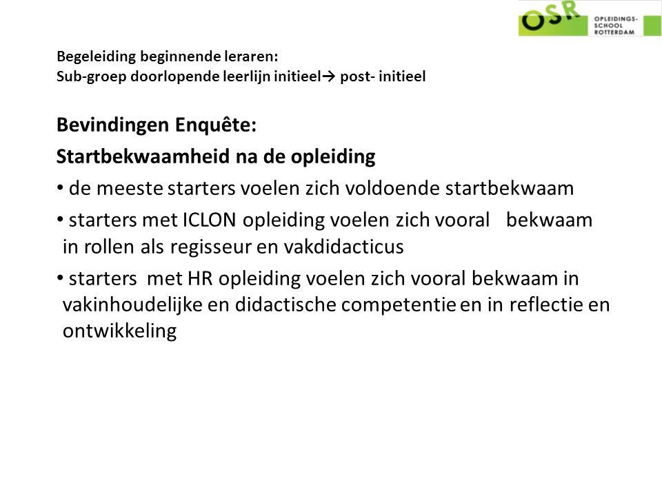 Begeleiding beginnende leraren: Sub-groep doorlopende leerlijn initieel→ post- initieel Bevindingen Enquête: Startbekwaamheid na de opleiding de meest