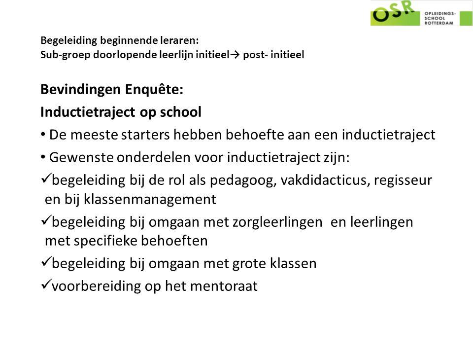 Begeleiding beginnende leraren: Sub-groep doorlopende leerlijn initieel→ post- initieel Bevindingen Enquête: Inductietraject op school De meeste start