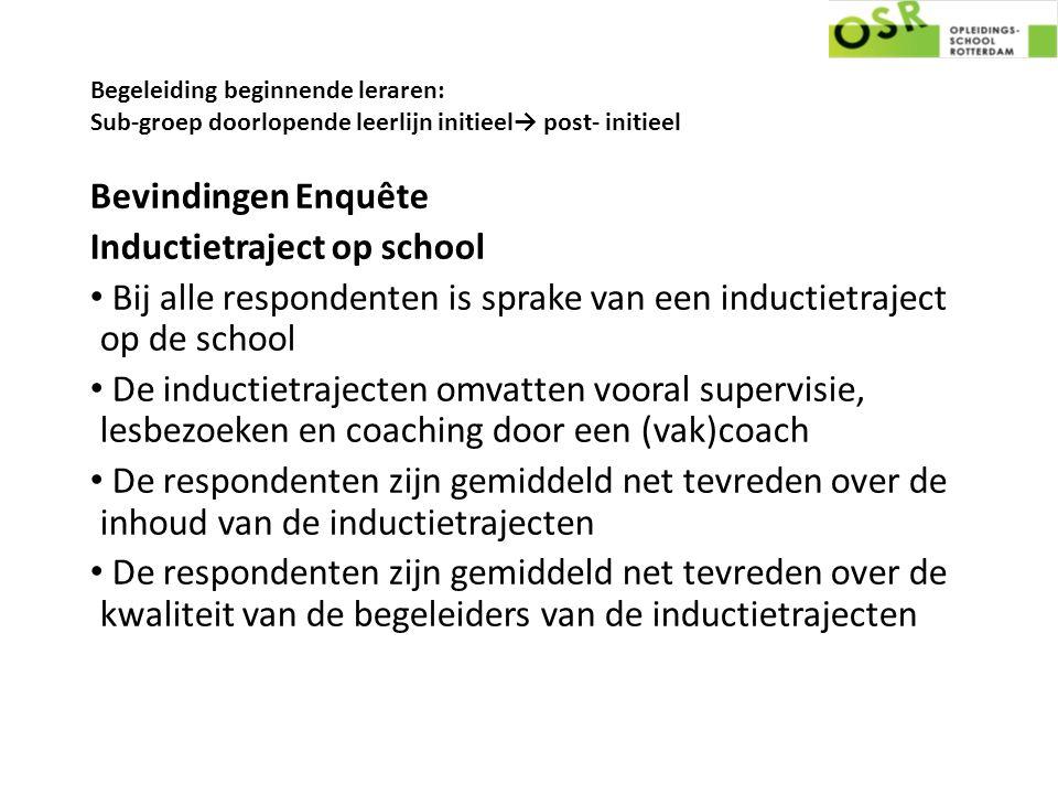 Begeleiding beginnende leraren: Sub-groep doorlopende leerlijn initieel→ post- initieel Bevindingen Enquête Inductietraject op school Bij alle respond
