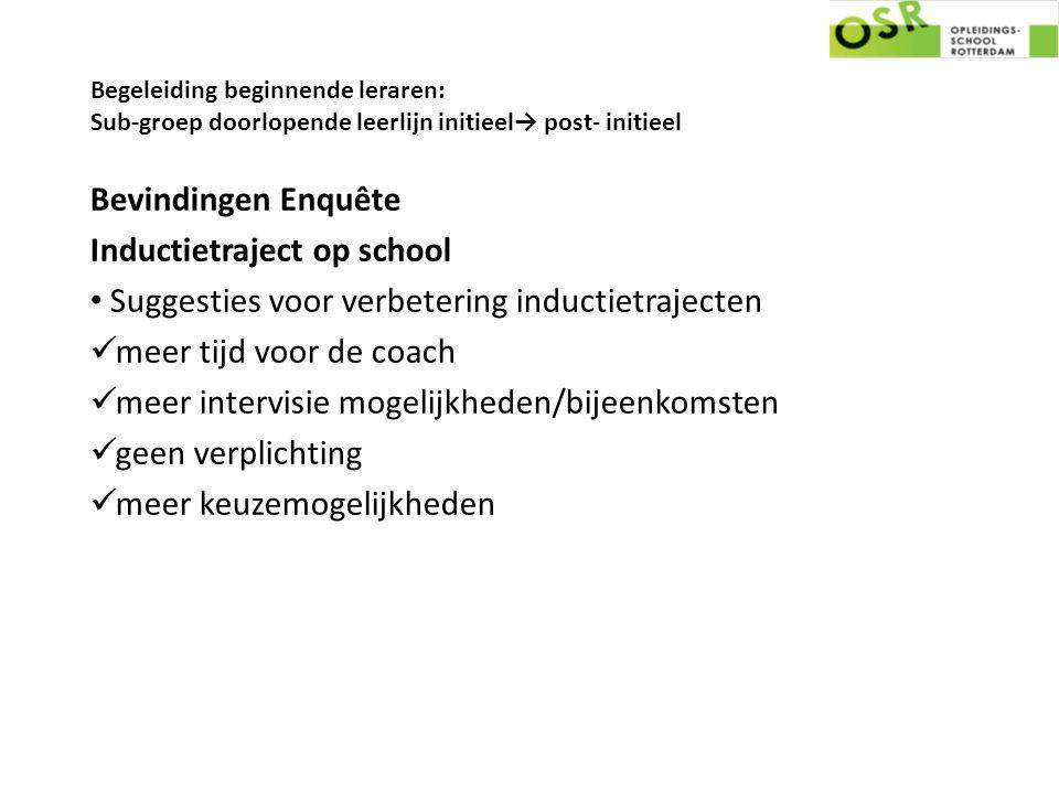 Begeleiding beginnende leraren: Sub-groep doorlopende leerlijn initieel→ post- initieel Bevindingen Enquête Inductietraject op school Suggesties voor