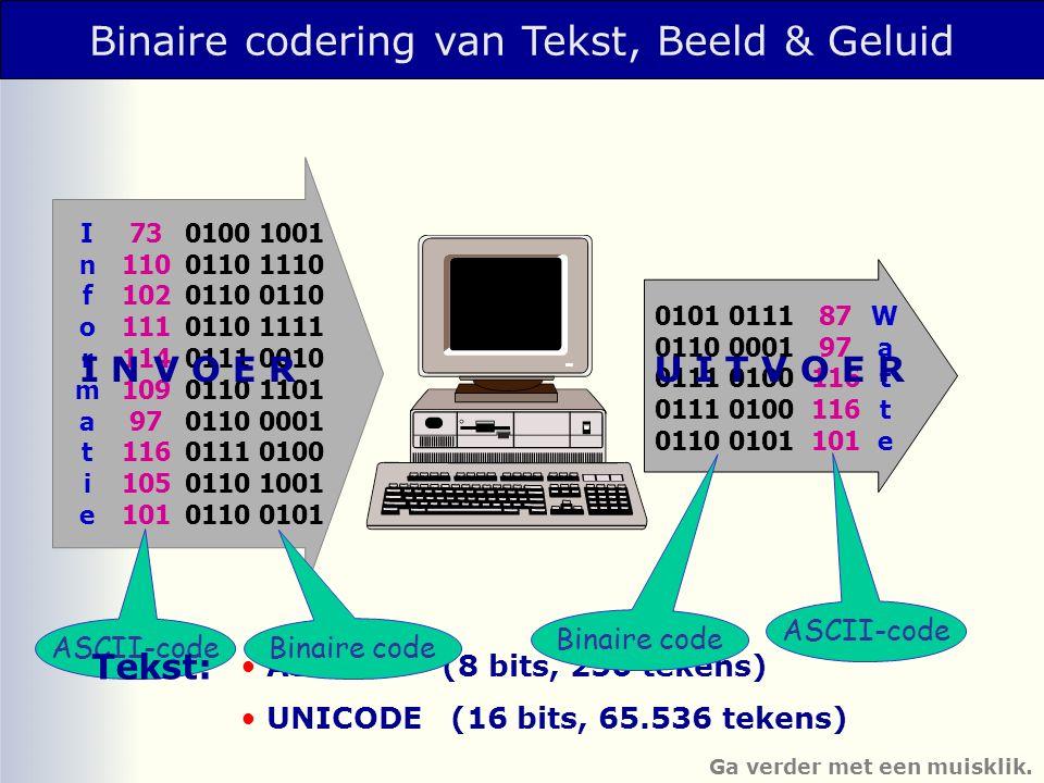 Binaire codering van Tekst, Beeld & Geluid ASCII (8 bits, 256 tekens) UNICODE (16 bits, 65.536 tekens) InformatieInformatie 73 110 102 111 114 109 97 116 105 101 0100 1001 0110 1110 0110 0110 1111 0111 0010 0110 1101 0110 0001 0111 0100 0110 1001 0110 0101 0101 0111 0110 0001 0111 0100 0110 0101 87 97 116 101 WatteWatte I N V O E RU I T V O E R ASCII-code Binaire code Tekst: Ga verder met een muisklik.