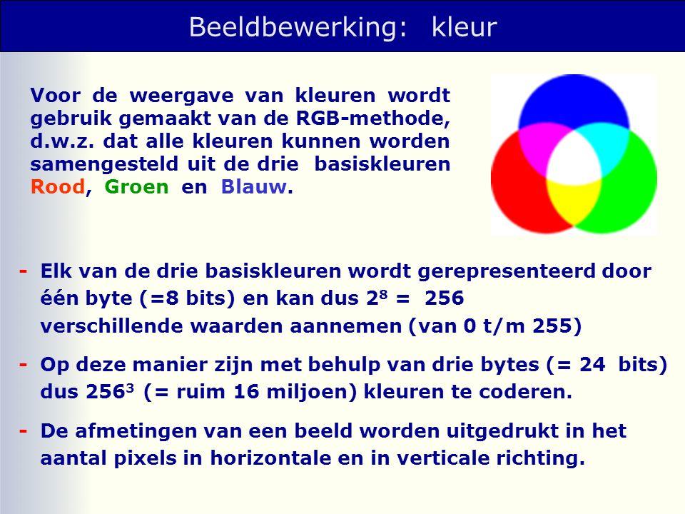 Beeldbewerking: kleur Voor de weergave van kleuren wordt gebruik gemaakt van de RGB-methode, d.w.z.