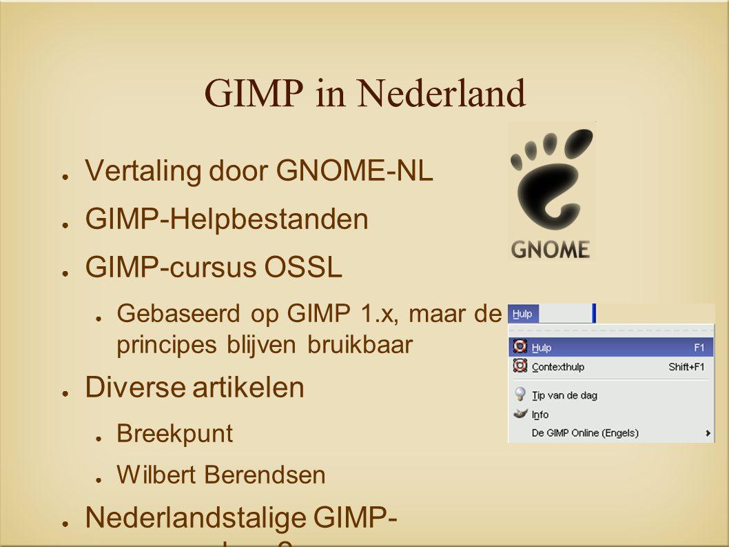 GIMP in Nederland ● Vertaling door GNOME-NL ● GIMP-Helpbestanden ● GIMP-cursus OSSL ● Gebaseerd op GIMP 1.x, maar de principes blijven bruikbaar ● Diverse artikelen ● Breekpunt ● Wilbert Berendsen ● Nederlandstalige GIMP- gemeenschap ?