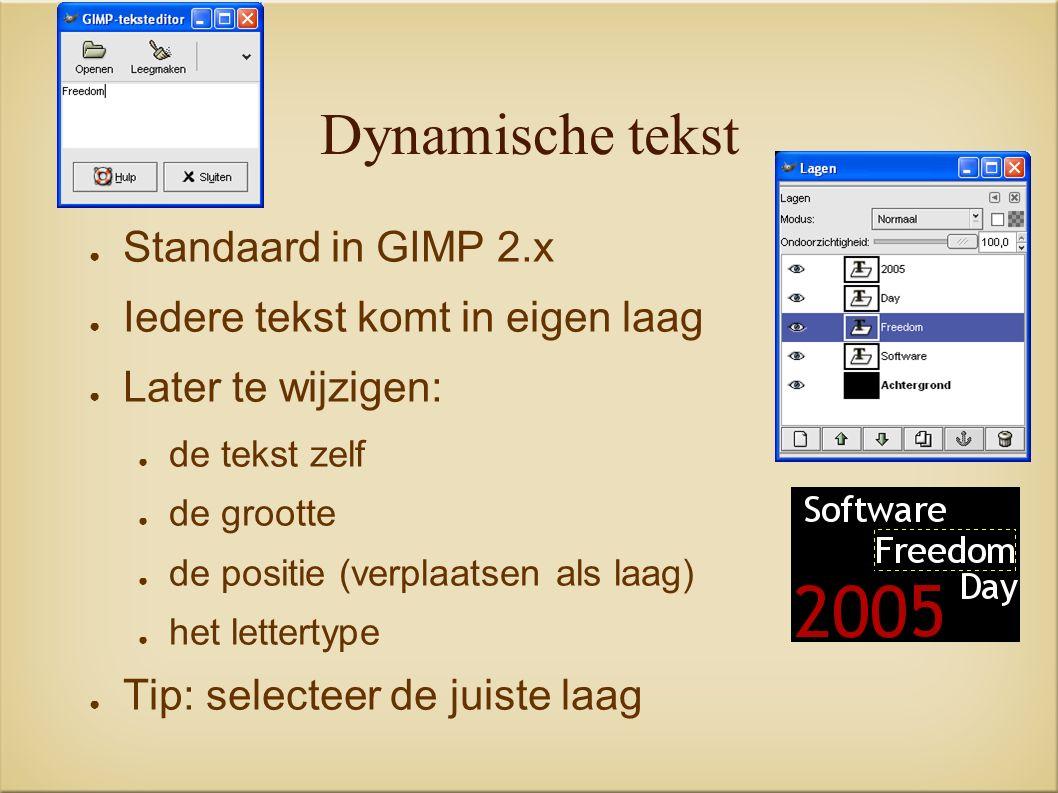 Dynamische tekst ● Standaard in GIMP 2.x ● Iedere tekst komt in eigen laag ● Later te wijzigen: ● de tekst zelf ● de grootte ● de positie (verplaatsen als laag) ● het lettertype ● Tip: selecteer de juiste laag