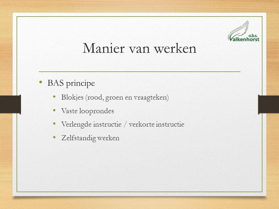 Manier van werken BAS principe Blokjes (rood, groen en vraagteken) Vaste looprondes Verlengde instructie / verkorte instructie Zelfstandig werken