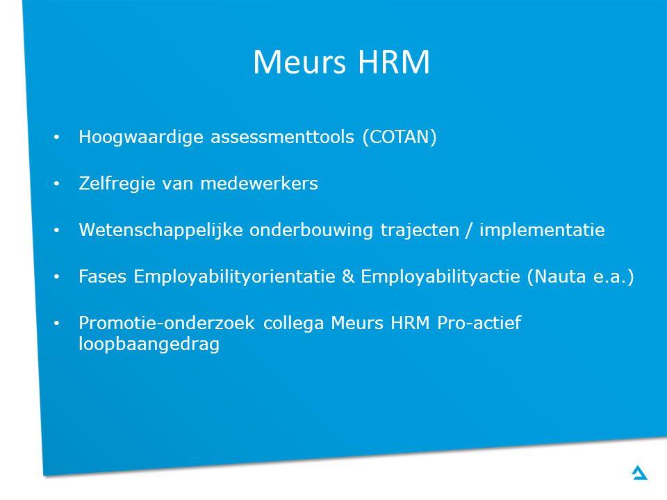 Meurs HRM Hoogwaardige assessmenttools (COTAN) Zelfregie van medewerkers Wetenschappelijke onderbouwing trajecten / implementatie Fases Employabilityo