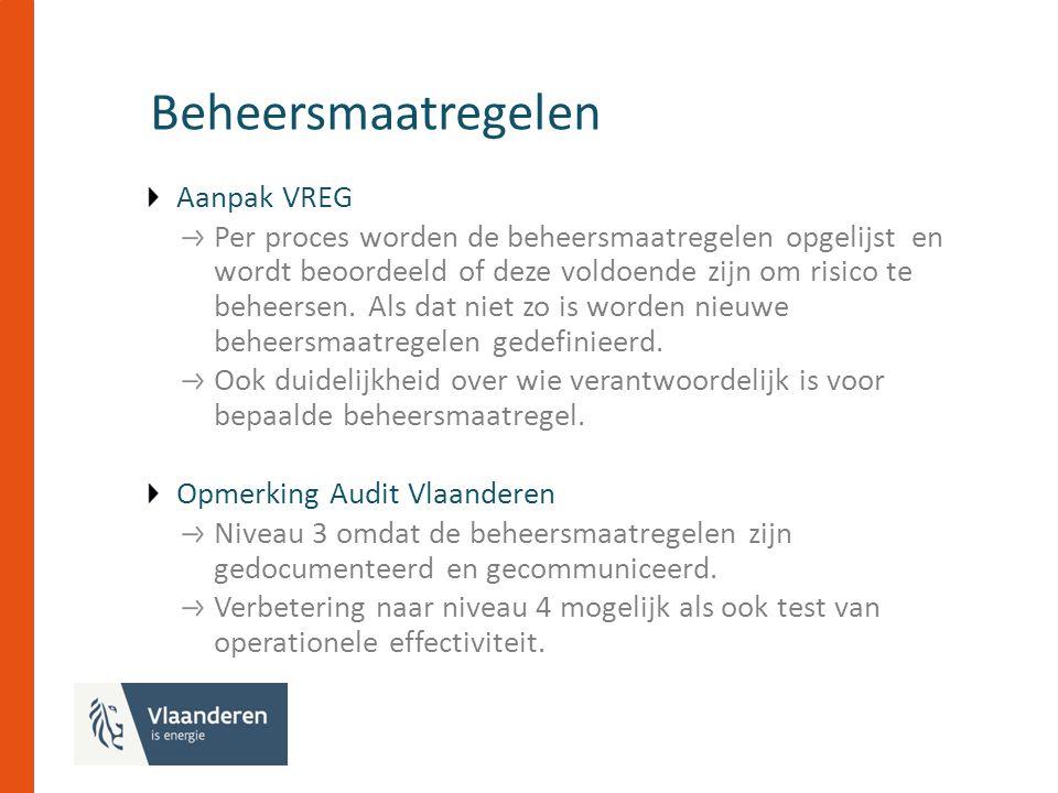 Beheersmaatregelen Aanpak VREG Per proces worden de beheersmaatregelen opgelijst en wordt beoordeeld of deze voldoende zijn om risico te beheersen.