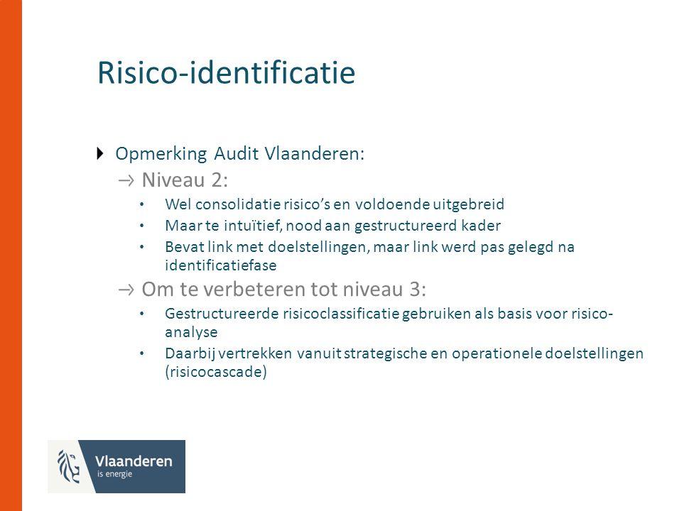 Risico-identificatie Opmerking Audit Vlaanderen: Niveau 2: Wel consolidatie risico's en voldoende uitgebreid Maar te intuïtief, nood aan gestructureerd kader Bevat link met doelstellingen, maar link werd pas gelegd na identificatiefase Om te verbeteren tot niveau 3: Gestructureerde risicoclassificatie gebruiken als basis voor risico- analyse Daarbij vertrekken vanuit strategische en operationele doelstellingen (risicocascade)