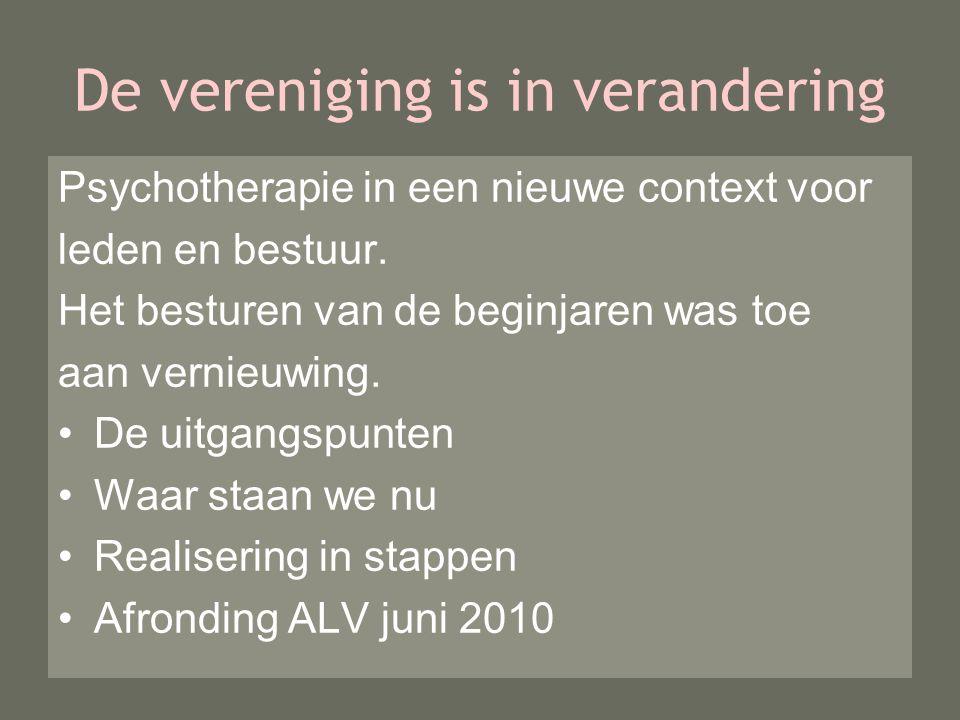 De vereniging is in verandering Psychotherapie in een nieuwe context voor leden en bestuur.