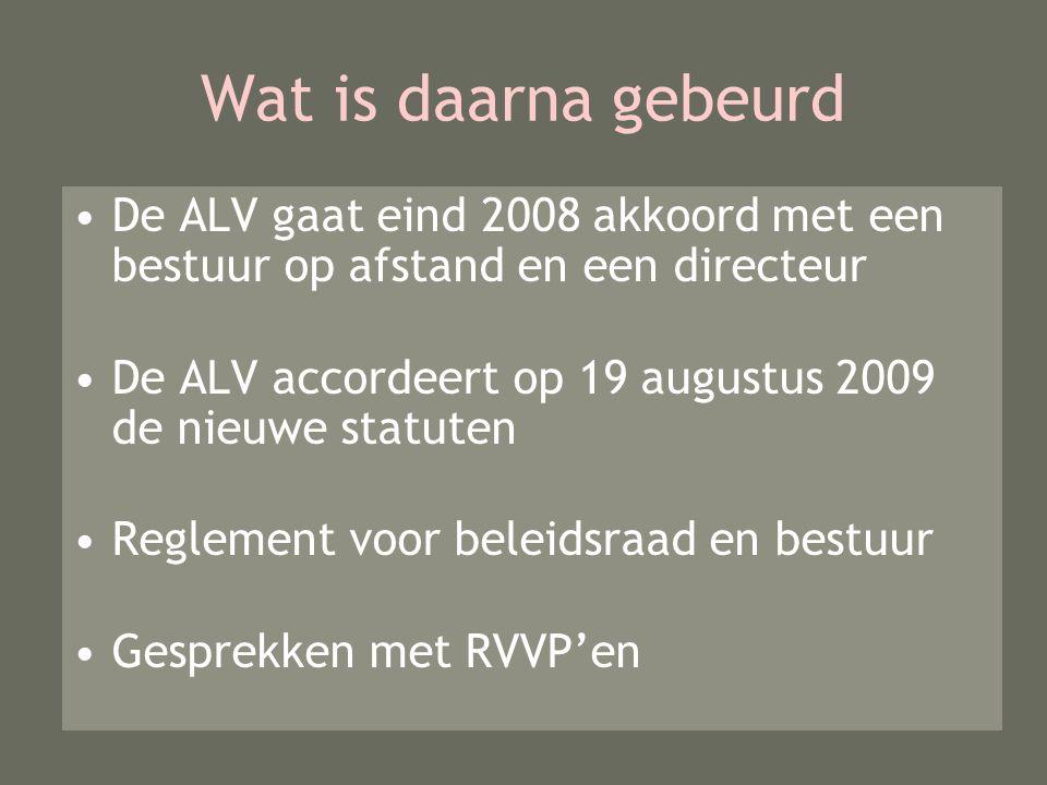 Wat is daarna gebeurd De ALV gaat eind 2008 akkoord met een bestuur op afstand en een directeur De ALV accordeert op 19 augustus 2009 de nieuwe statuten Reglement voor beleidsraad en bestuur Gesprekken met RVVP'en