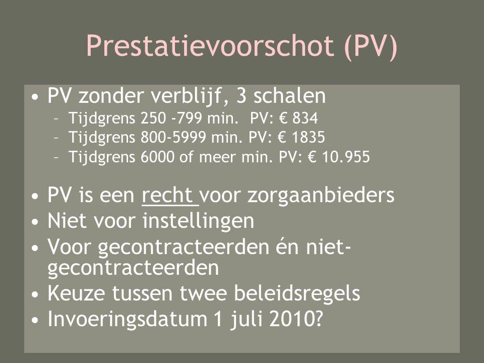 Prestatievoorschot (PV) PV zonder verblijf, 3 schalen –Tijdgrens 250 -799 min.