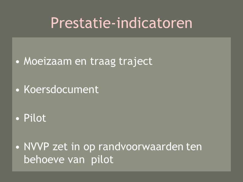 Prestatie-indicatoren Moeizaam en traag traject Koersdocument Pilot NVVP zet in op randvoorwaarden ten behoeve van pilot