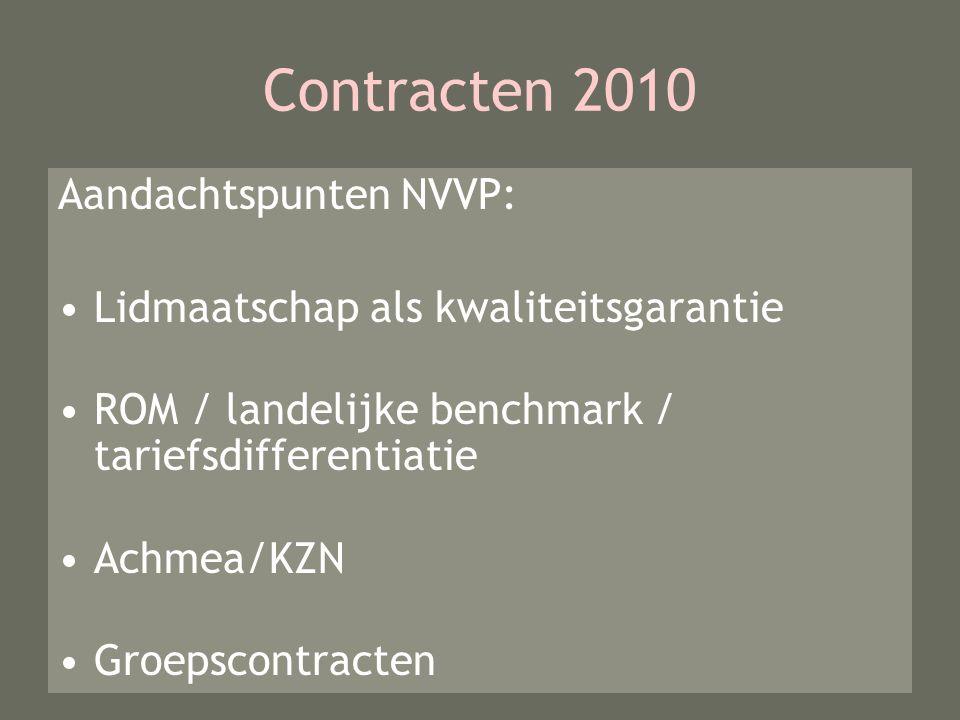 Contracten 2010 Aandachtspunten NVVP: Lidmaatschap als kwaliteitsgarantie ROM / landelijke benchmark / tariefsdifferentiatie Achmea/KZN Groepscontracten