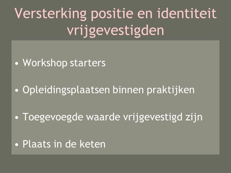 Versterking positie en identiteit vrijgevestigden Workshop starters Opleidingsplaatsen binnen praktijken Toegevoegde waarde vrijgevestigd zijn Plaats in de keten
