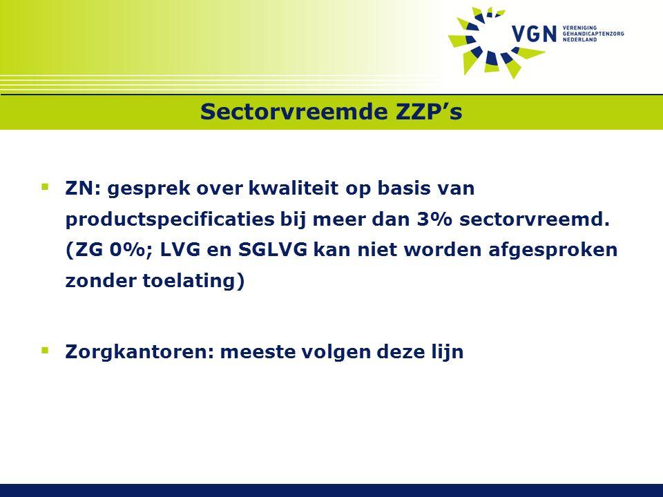 Sectorvreemde ZZP's  ZN: gesprek over kwaliteit op basis van productspecificaties bij meer dan 3% sectorvreemd.